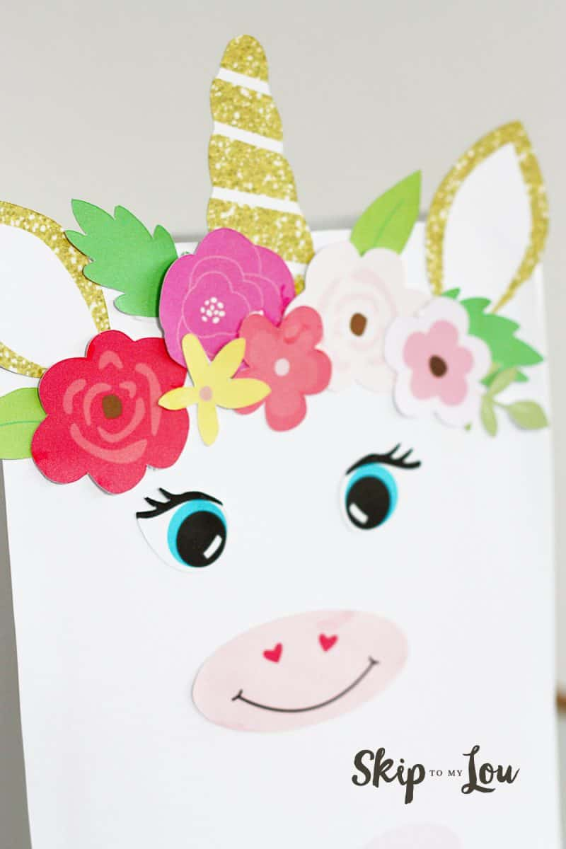 The finished whimsical version of the  Valentines Unicorn Box; this box has a ring of flowers around the crown of the unicorn head