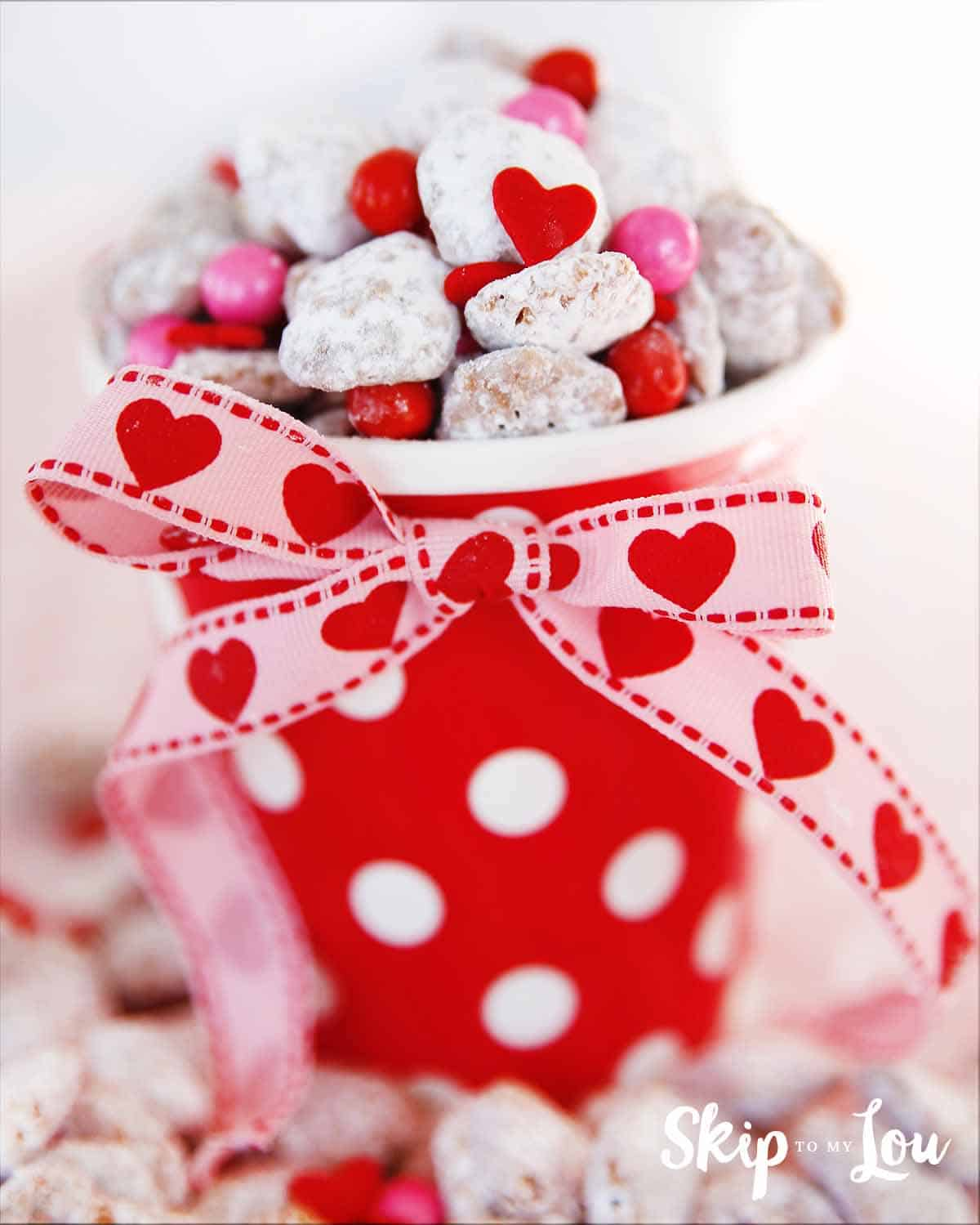 Fun and festive Valentine puppy chow