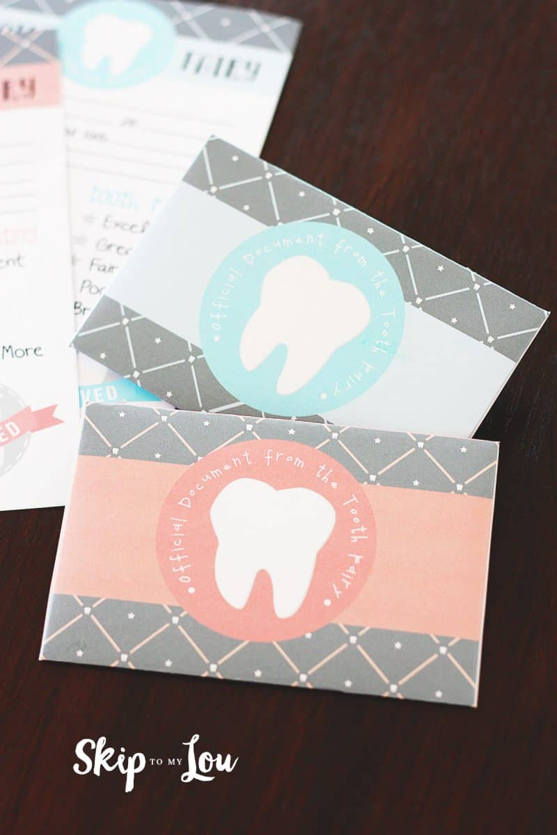 close up of printable envelope with tooth on front