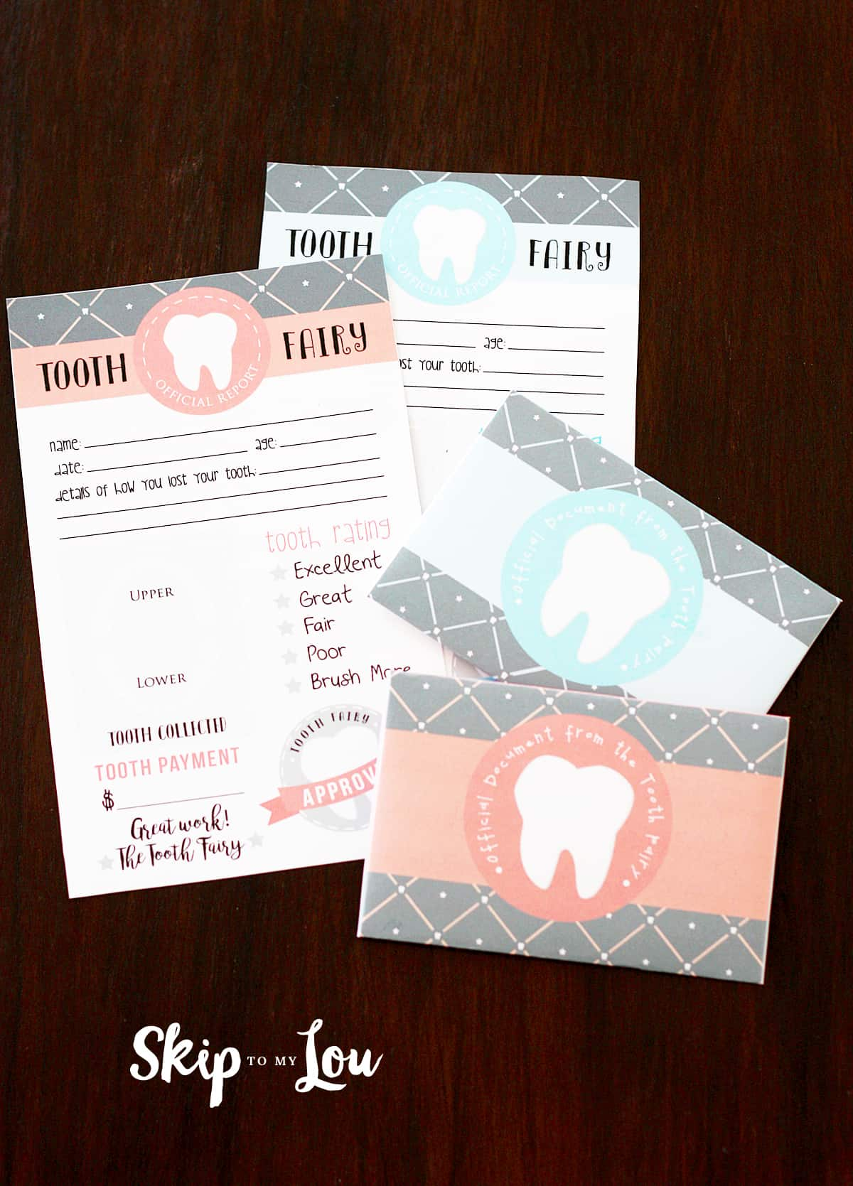 Tooth Fairy Letters with matching envelopes