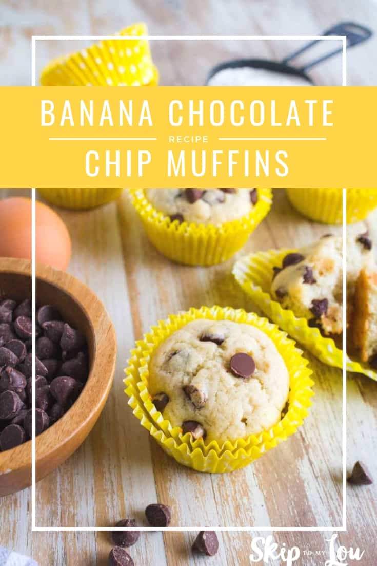Looking for delicious banana chocolate chip muffins? Look no further! I love warm muffins fresh from the oven and these are just right! If you like moist muffins that are full of flavor and chocolate chips you have found your recipe! This for sure is what you need to do with overripe bananas. #recipes #food #muffins