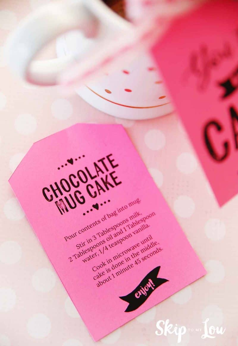 chocolate mug cake with printable instructions