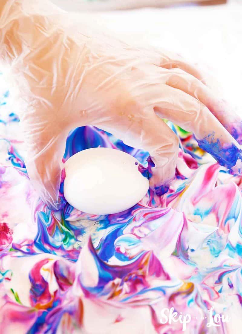 roll eggs in shaving cream