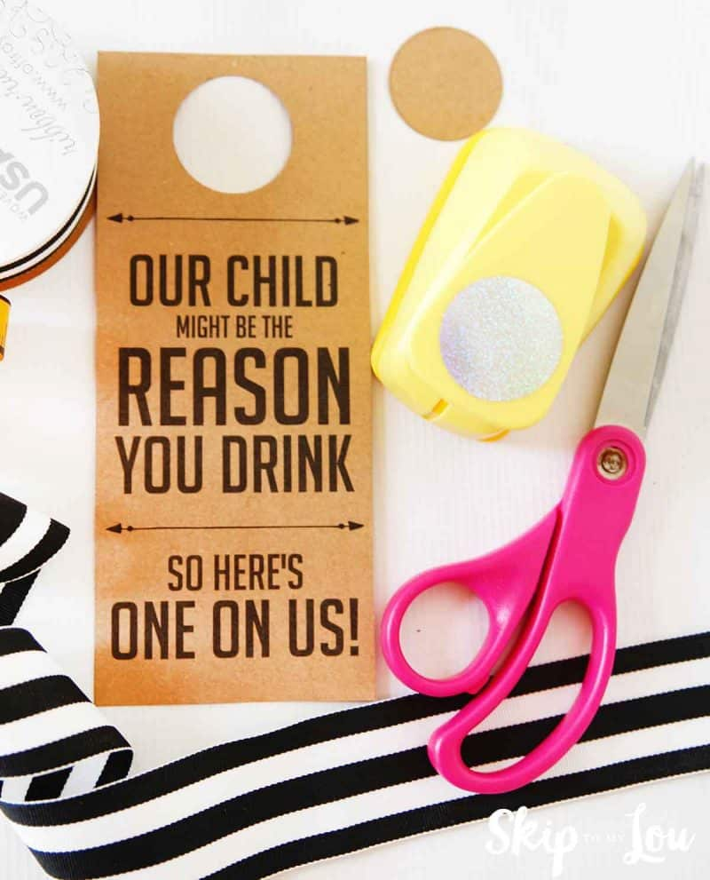 cut out and punch wine gift tag