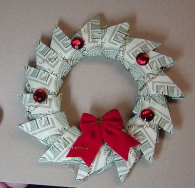 wreath made out of money