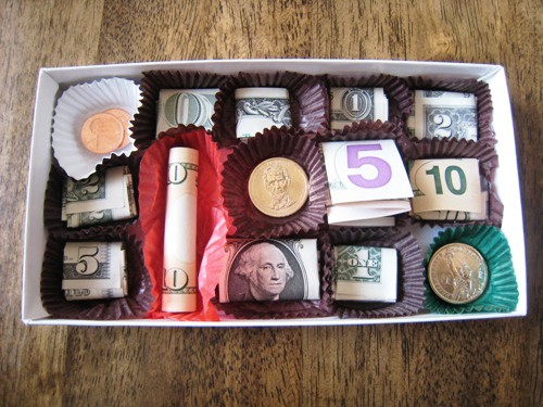 chocolate box money gift