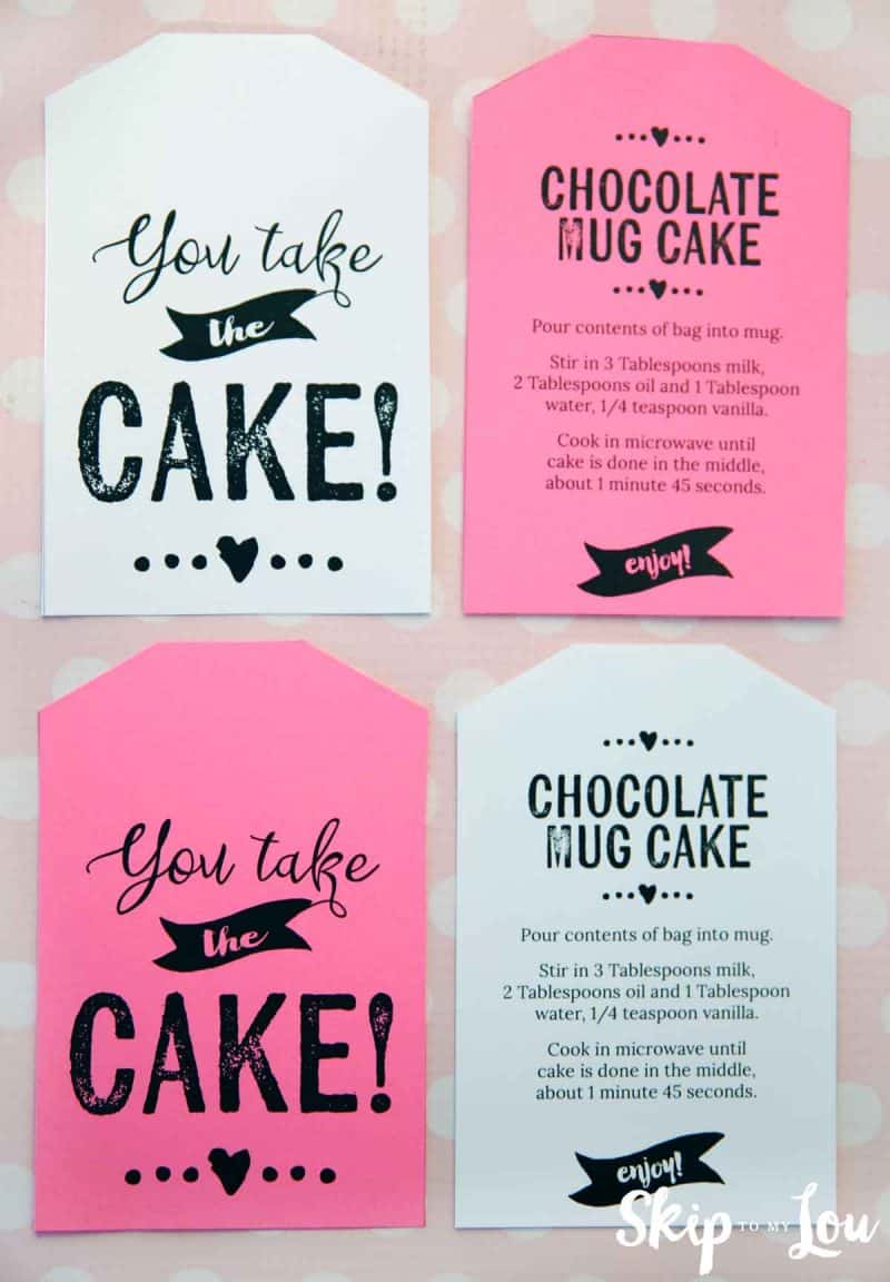 printable chocolate mug cake tags with instructions