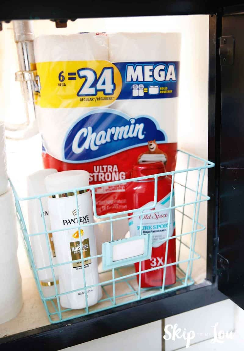 Charmin Pantene and Old Spice in a basket