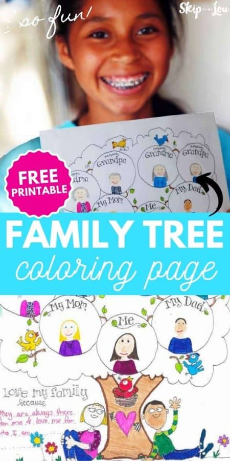 family tree coloring page PIN