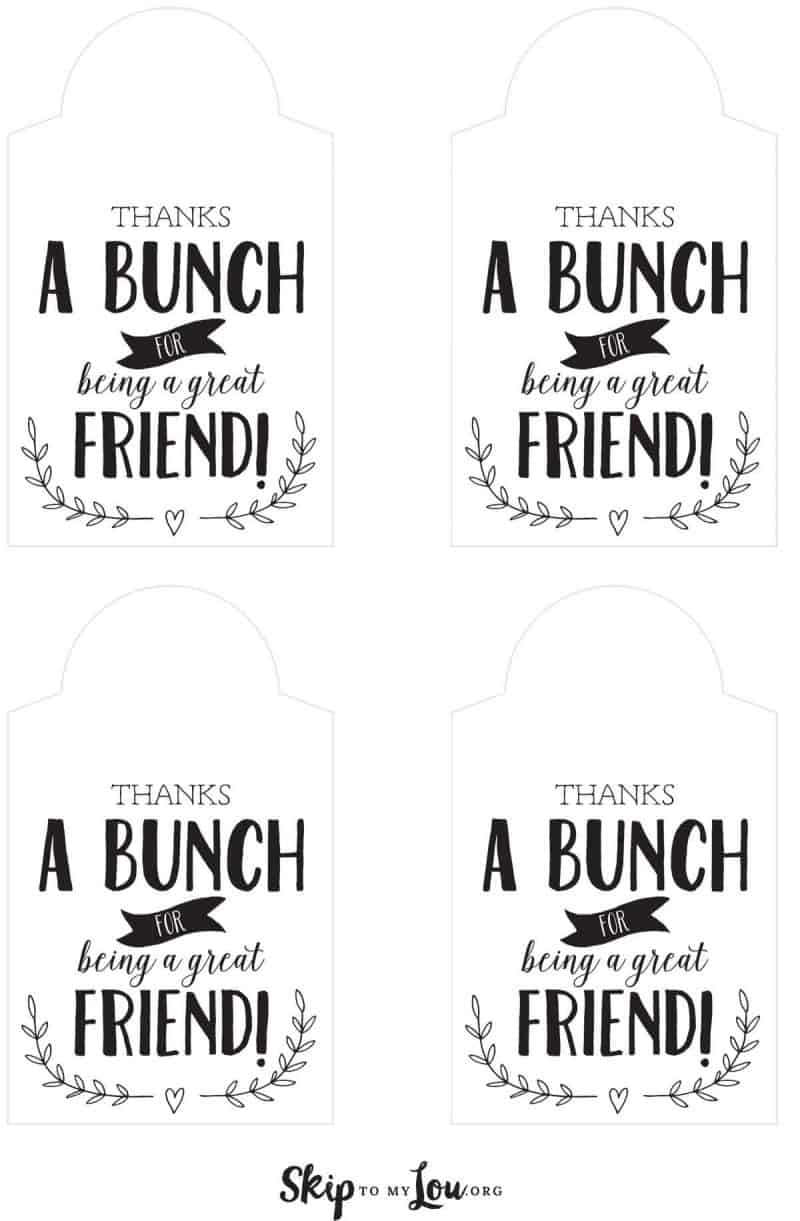 printable friend gift tag thanks a bunch