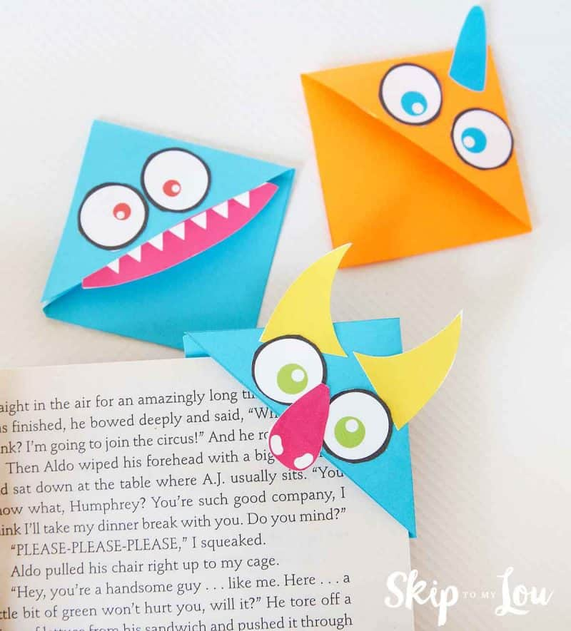monster corner bookmarks on book