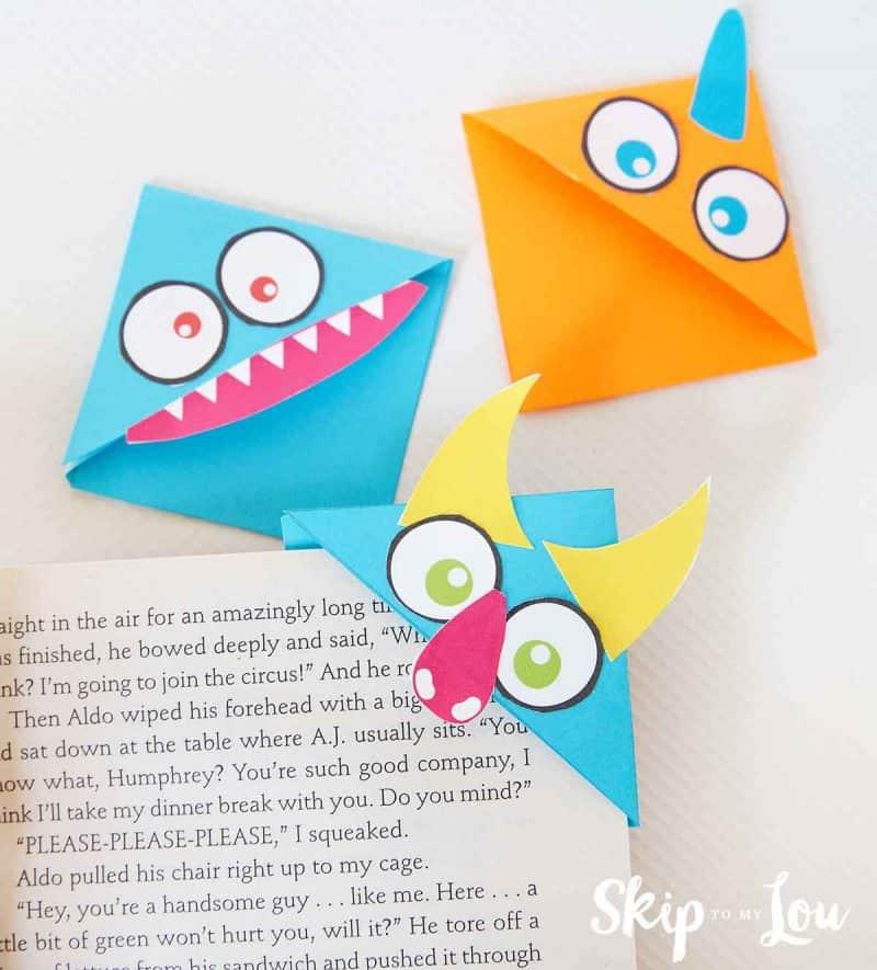 monster corner bookmarks on book