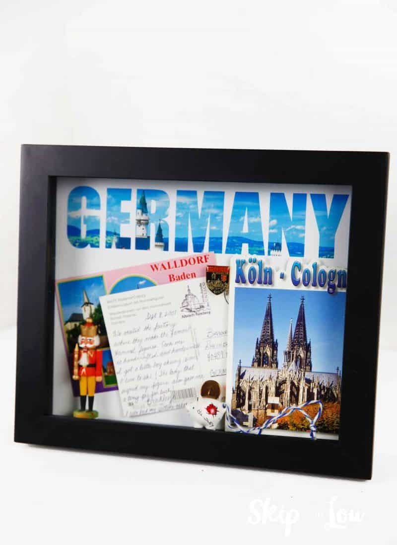 shadow box with German memorabilia