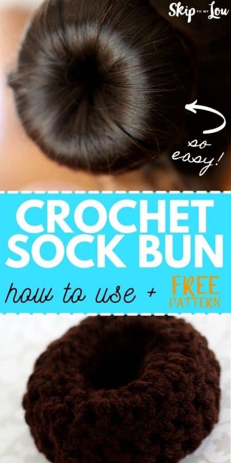 crochet sock bun pattern PIN