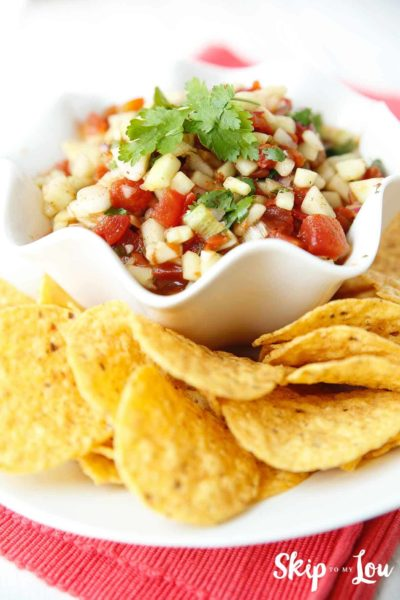 cucumber salsa in bowl