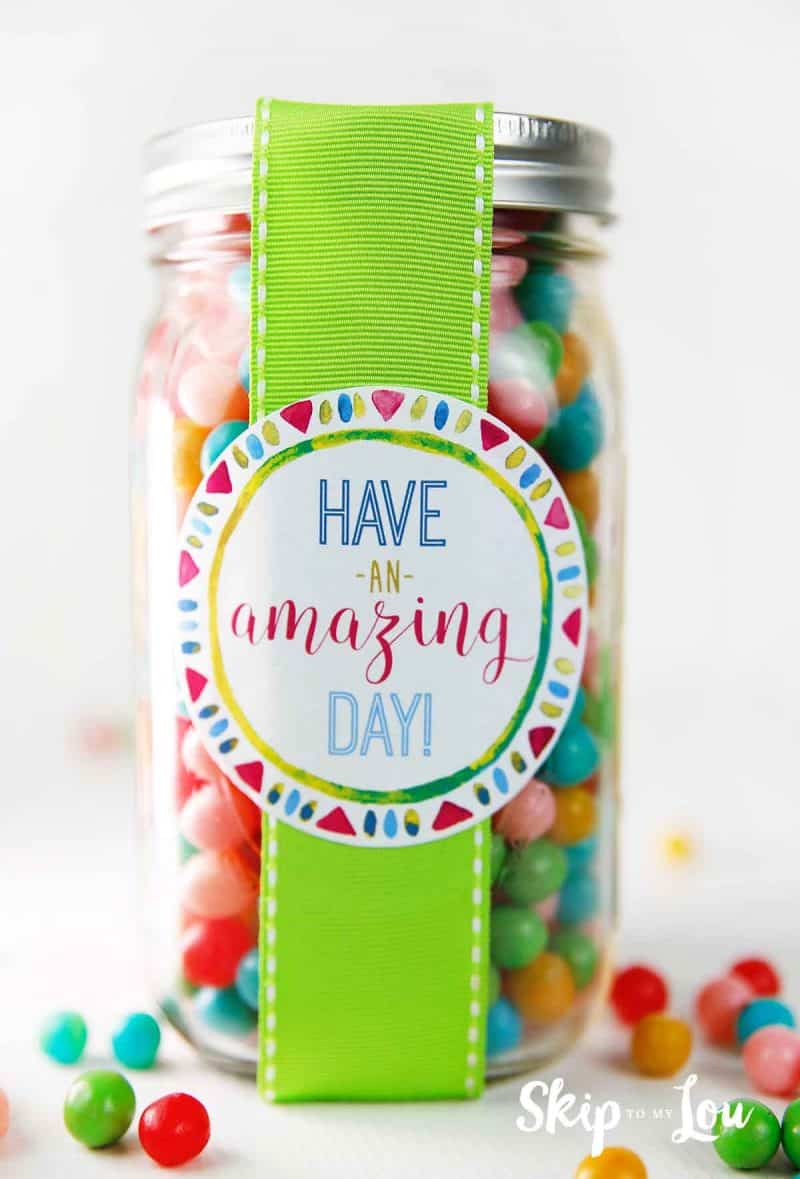 candy gift in jar with ribbon