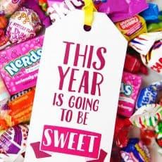 this year is going to be sweet gift tag on candy