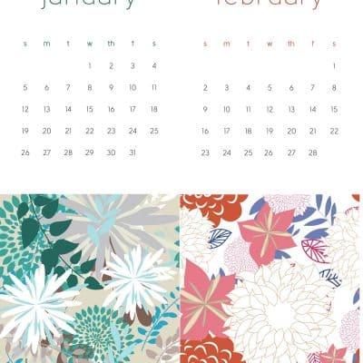 2020 printable calendar floral