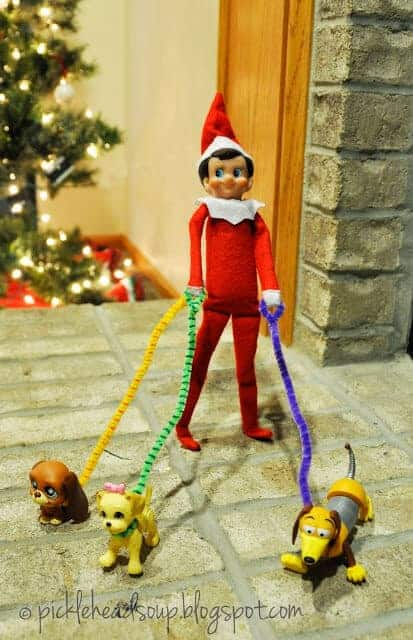 Elf walking dogs