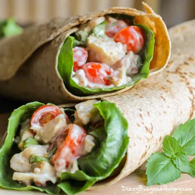 Chicken salad wrap with lettuce