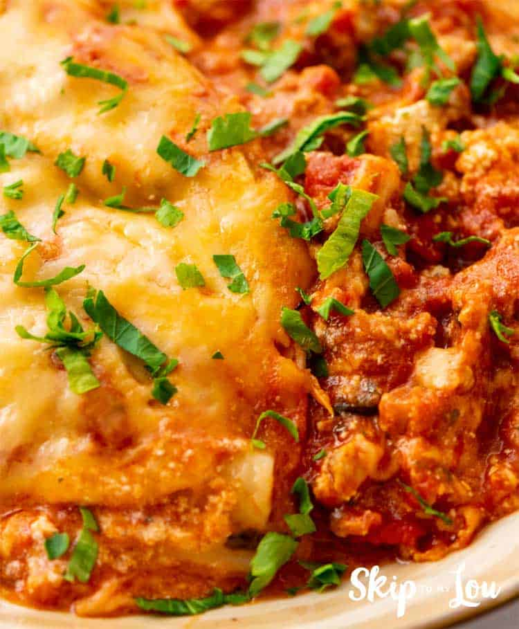 crock pot lasagna on a plate