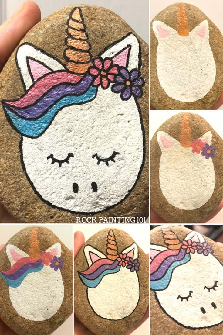 unicorn painted rock step by step