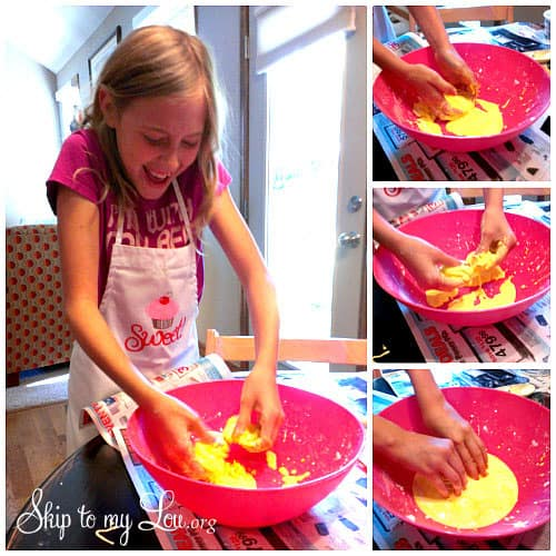 child making oobleck