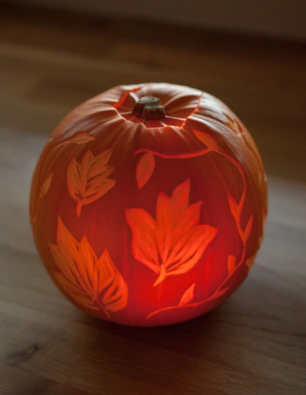 leaf etched pumpkin