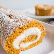 pumpkin roll on white plate