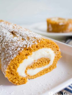 pumpkin roll on white plate