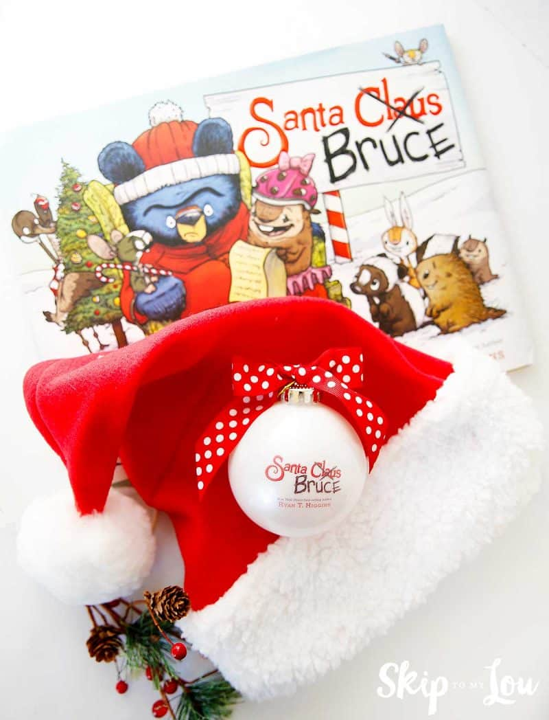santa hat, santa bruce book and santa bruce ornament