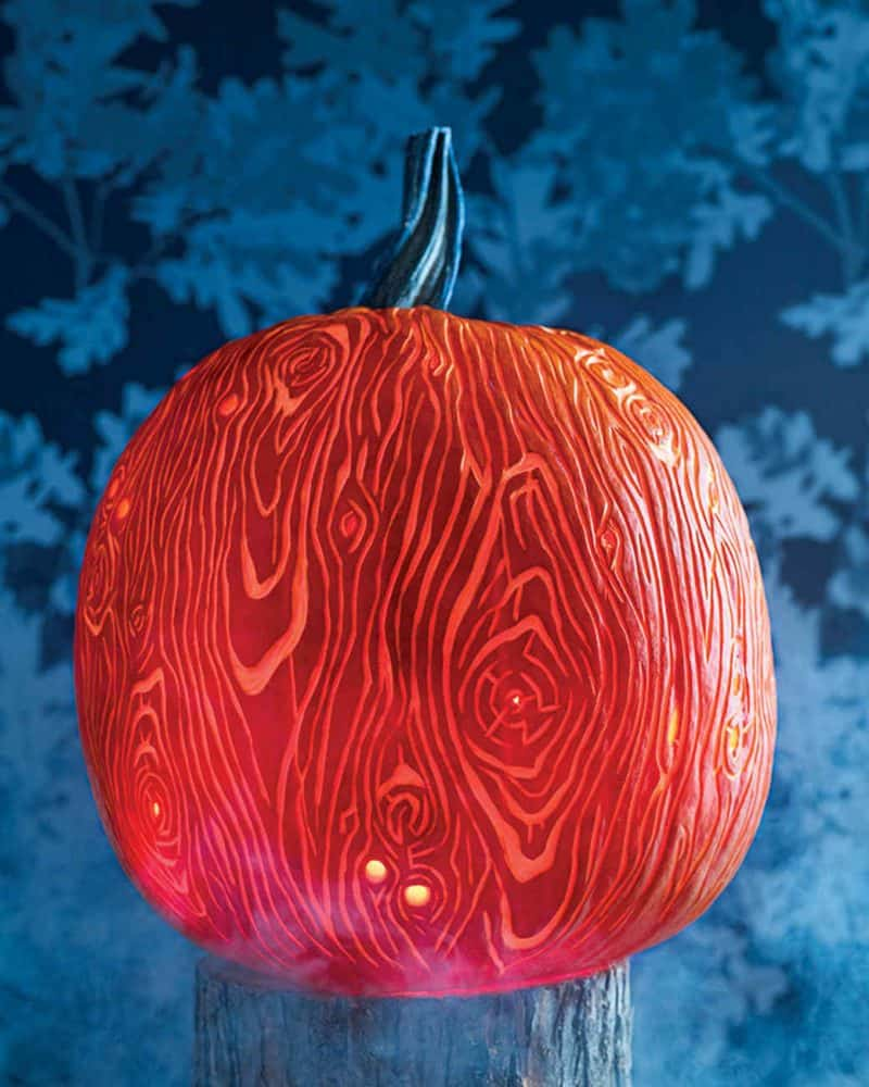 faux bois wood grain pumpkin