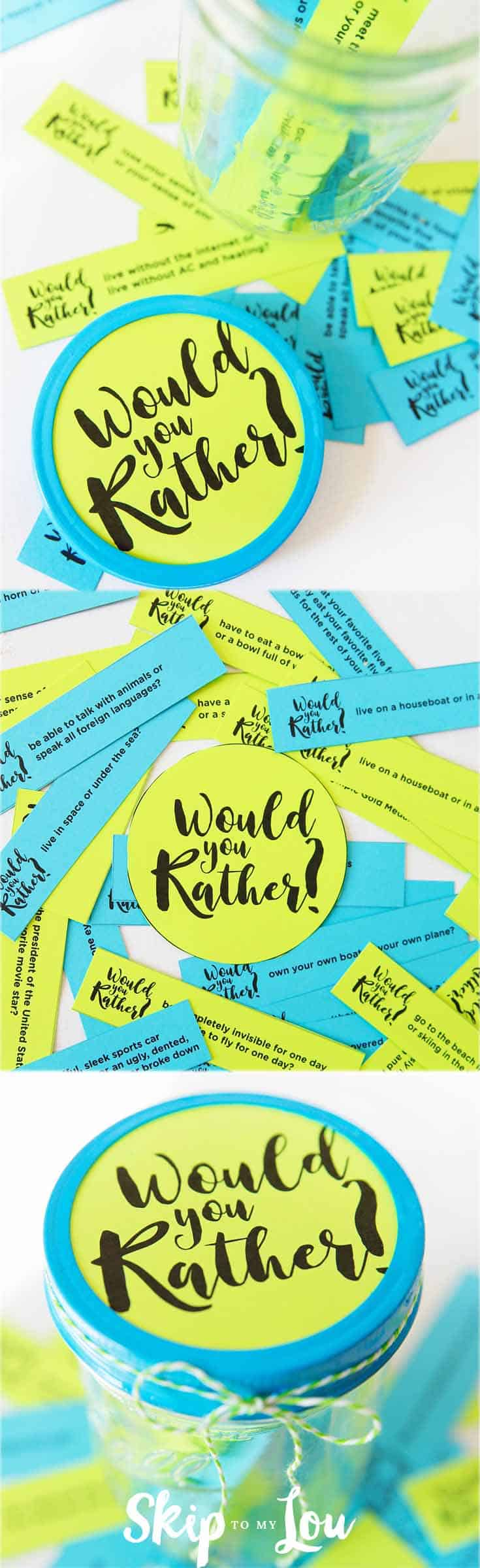 Would you rather questions you are going to love! Have you ever played Would You Rather? It is that fun questions game that poses a dilemma with two equally good, bad or funny options. Some would you rather questions are thought-provoking, while others may be simply silly and just fun to answer. #games #familyfun