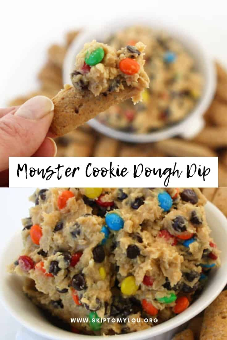 Look no further you have stumbled onto the BEST cookie dough dip.  The other night my friend Di made the most fabulous Monster Cookie Dough Dip! We couldn't put it down and kept fighting over it! I don't normally like a sweet dip, but this one is irresistible! #recipes #dips #sweets