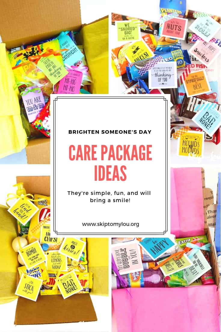 These care package ideas are a sure way to lift someone's spirits and give encouragement. Print off the tags an attach to a small gift. #carepackage #printables