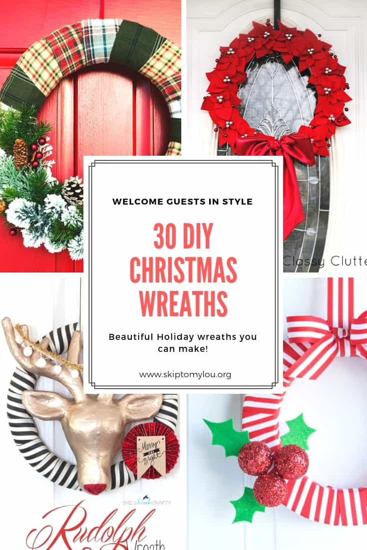 Check out 30 amazing DIY Christmas wreath ideas that you can make yourself! You will love these unique and festive Christmas wreaths. #christmaswreaths #DIY #wreaths