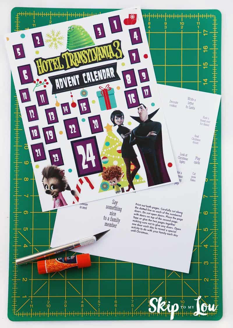 Hotel Transylvania 3 Advent Calendar Supplies on green cutting mat