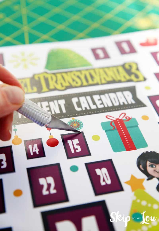 Hotel Transylvania 3 Advent Calendar cutting doors open with x-acto knife