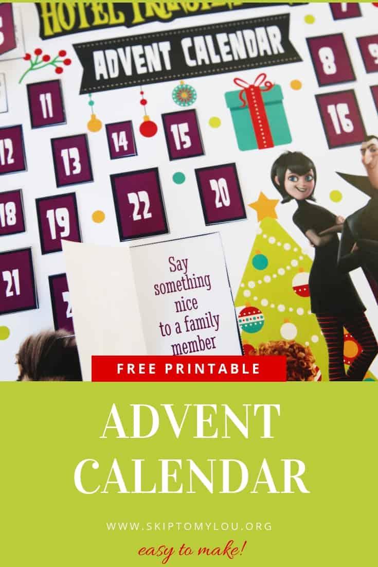Hotel Transylvania Advent Calendar Pinterest Graphic