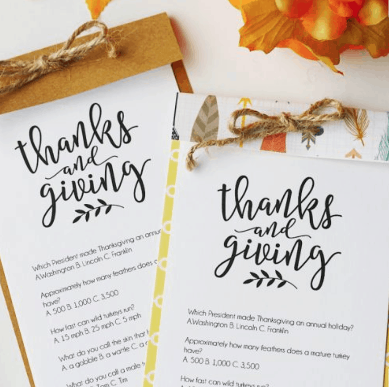 Thanksgiving Trivia {Free Printable}