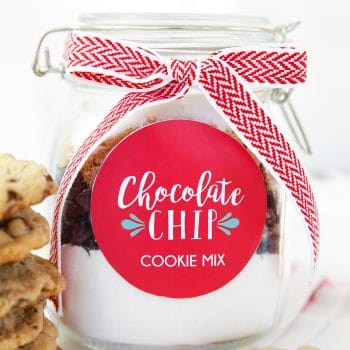 chocolate chip cookie mix in a jar with ribbon