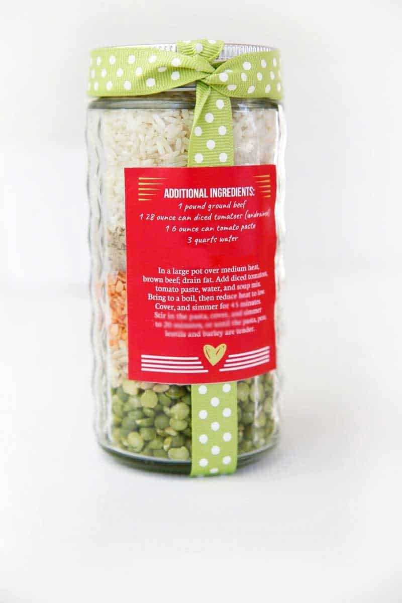 friendship soup mix in jar back label