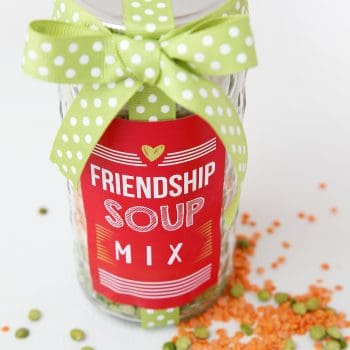 friendship soup mix in a jar with red labels and green ribbon