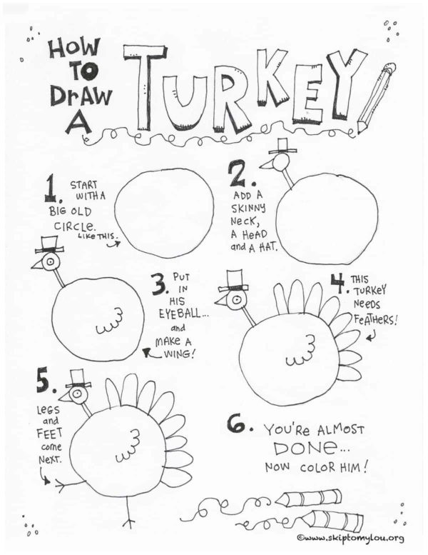 how to draw a turkey printable step by step guide