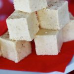 eggnog fudge on red napkin
