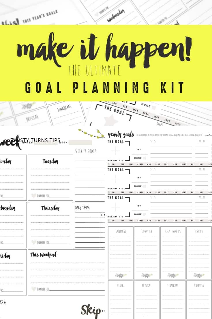 Are you into setting goals? At the start of each year, I set out to make some changes and hopefully do things a bit better than I did the year before.  One thing that helps me is if I write it all out. I need a plan!  For me, the key to success is having plenty of reminders and visual aids to keep me on track. Here are the goal setting worksheets that I use. #goals #printables