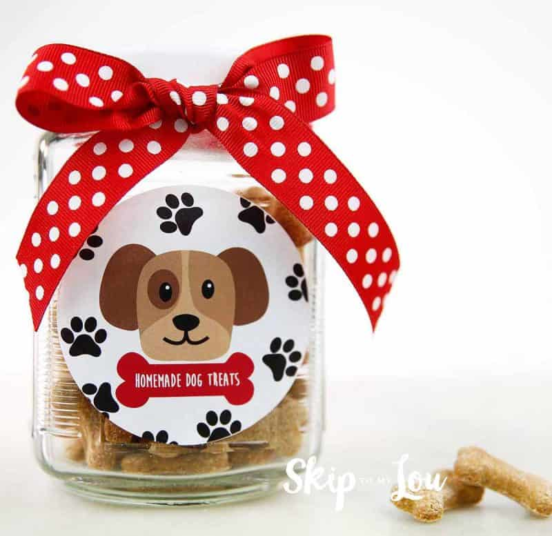homemade dog biscuits in jar with cute label