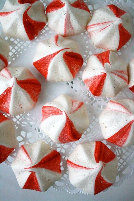 meringue cookies on doily