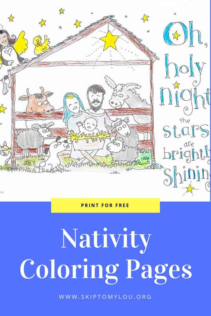 Nativity coloring pages graphic