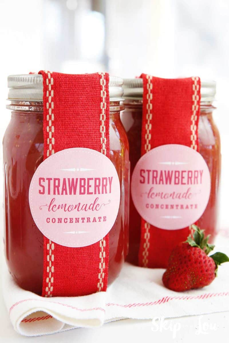strawberry lemonade concentrate in a jar